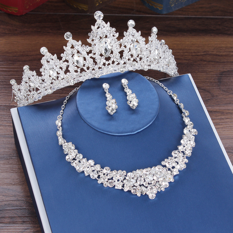 Jewelry Set Rhinestone Tiara Necklace Earrings for Bridal Wedding Banquet Dinner Party