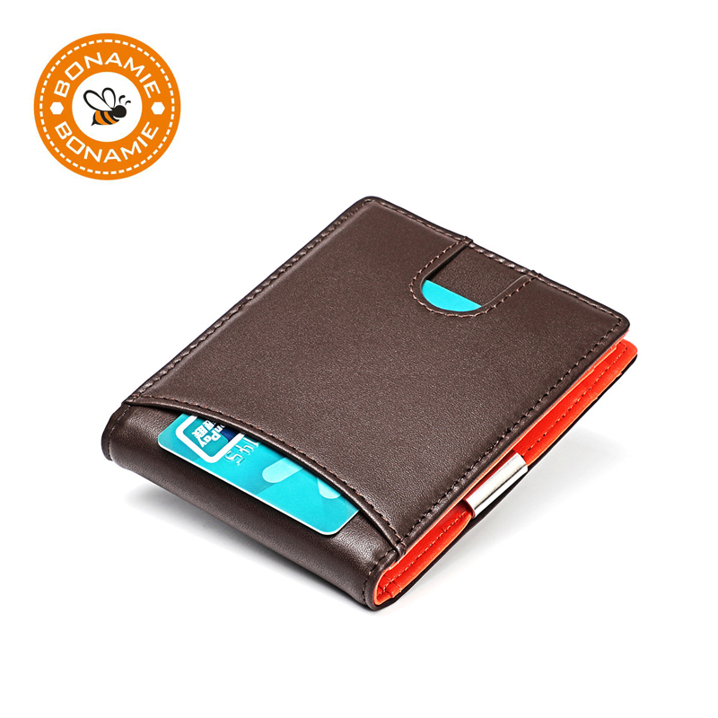 BONAMIE Mini Short Genuine Leather Money Clips Men Wallets RFID With Zipper Coin Pouch Male Money Purses Slim Purse Card Case