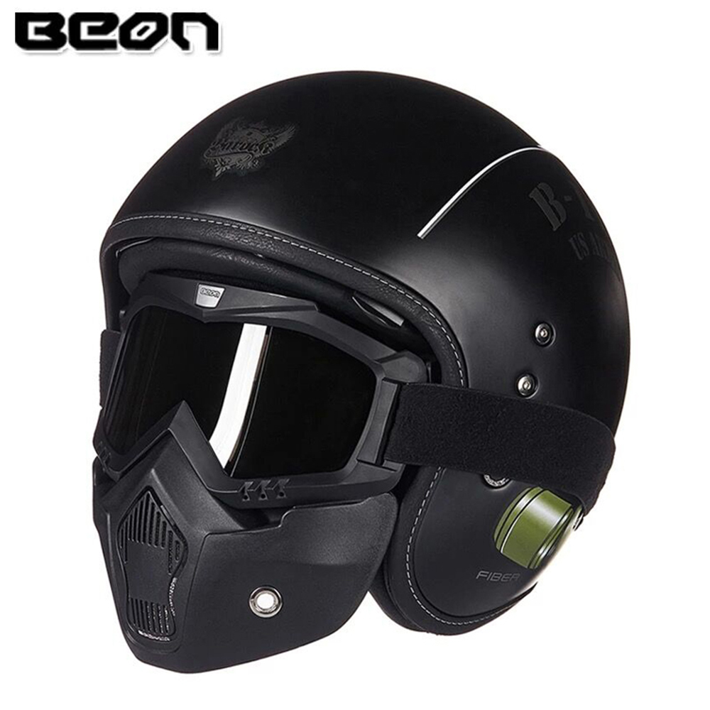 BEON Retro Vintage German Style Motorcycle Helmet 3 4 Open Face Helmet Scooter Chopper Cruiser Biker Moto Helmet Glasses Mask in Helmets from Automobiles Motorcycles