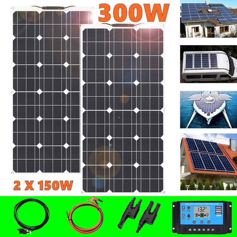 Flexible Solar Panel 300W 12V Battery Charger 2*150W Portable Solar Cell 5v Usb For Phone Car Boat China Outdoor Waterproof