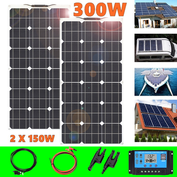 Flexible Solar Panel 300W 12V battery Charger 2*150W portable Solar Cell 5v usb for phone car Boat caravan outdoor Waterproof flexible painel solar 12v 25w 4 pcs solar panels 100w solar battery charger chargeur solaire marine yacht boat caravan car camp
