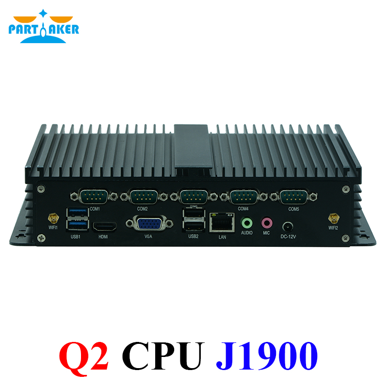 Partaker Q2 Intel Celeron J1900 Mini PC Windows 10 HDMI VGA 6 Serial RS232 Fanless Industrial Computer Linux J1900