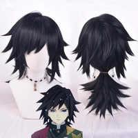 Peluca de cola de caballo negra de Demon Slayer Kimetsu no Yaiba Tomioka Giyuu, disfraz de Cosplay para hombres y mujeres, pelucas de pelo sintético resistentes al calor