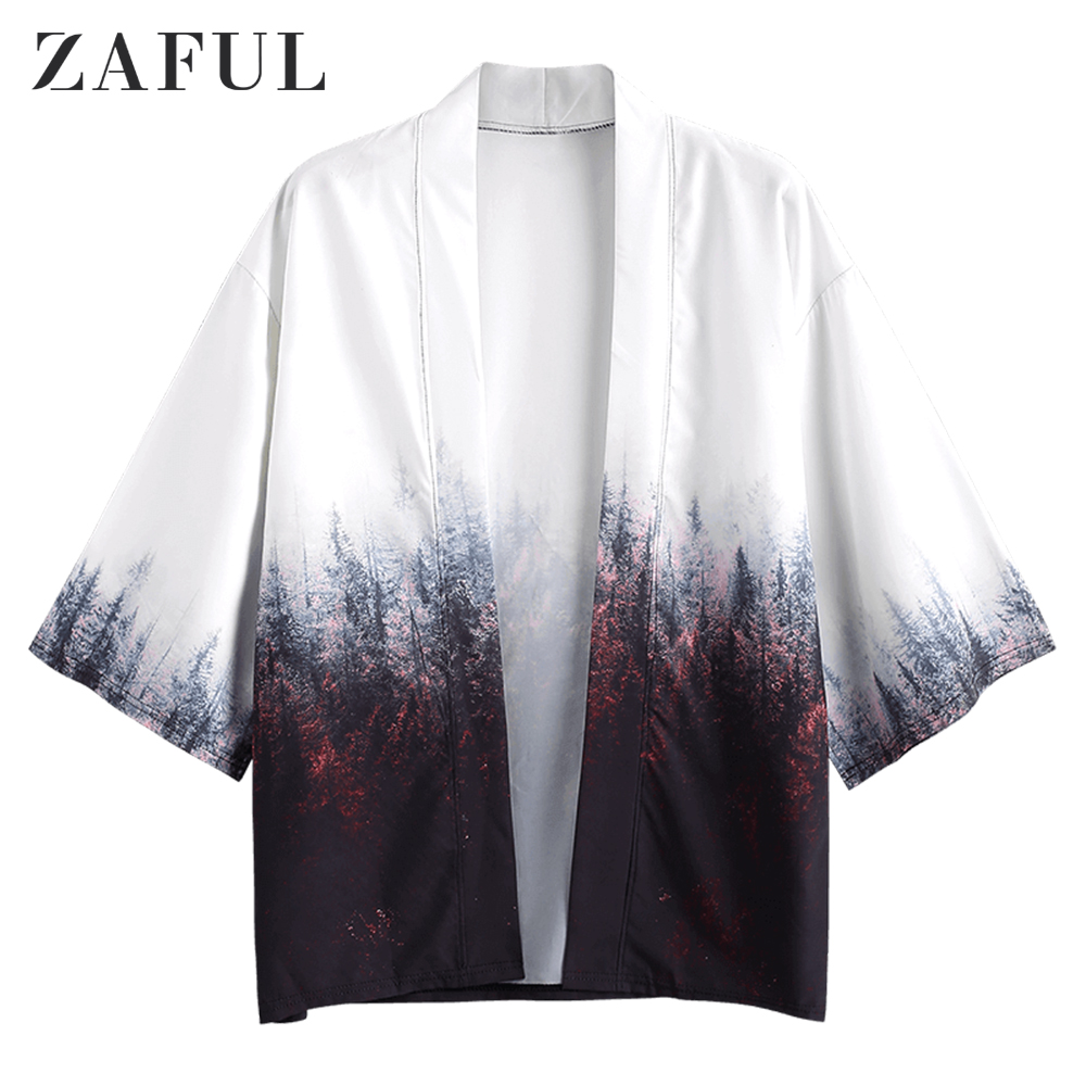 ZAFUL Forest Painting Print Casual Kimono For Men Cardigan Three Quarter Sleeve Open Front Print Collarless Tops Casual Shirts