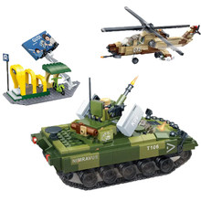 City Battle Legoed Military Tiger 725PCS Hunt tank helicopter building block model children toy compatible 8037 DIY(China)