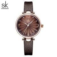 Shengke Leder Uhr Blume Zifferblatt Frauen Quarz Armbanduhren Quarz Analog Frauen Uhr Casual Damen Uhren Reloj Mujer-in Damenuhren aus Uhren bei