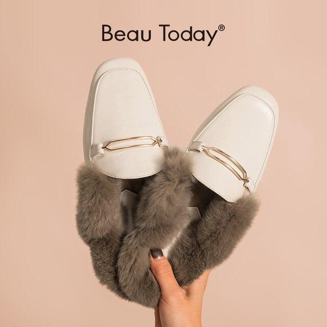BeauToday פרווה כפכפים נשים כבש עור ארנב שיער פרדות מתכת אבזם כיסוי כיכר הבוהן גבירותיי נעליים שטוחות בעבודת יד 37010