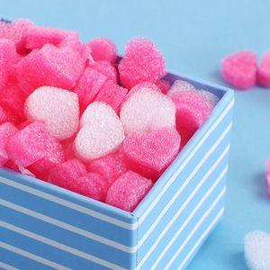 50pcs / Bag Mini Heart Love Beads Foam Strip Gift Box Flower Box Filler Fluffy Filler Packing Wedding for DIY Party Supplies