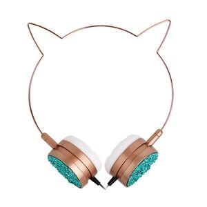 Image 4 - Originale Cornici e articoli da esposizione Cat Ear Cuffie Con Microfoni Cute Girl Gaming Headset Musica 3.5 millimetri Martinetti Per Il Computer Portatile Del Telefono Mobile