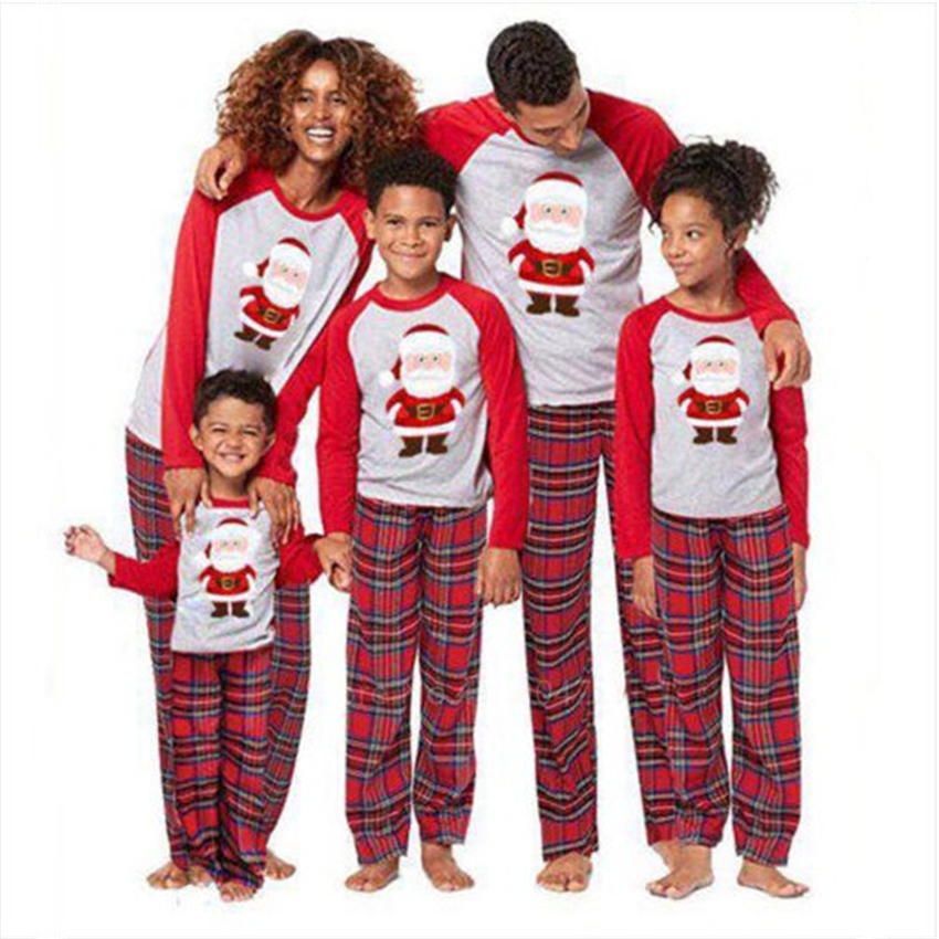 New Year Family Look Clothes Christmas Pajamas Red Print Lattice Elk Mommy And Me Clothes Baby Matching Clothing Outfits Sets