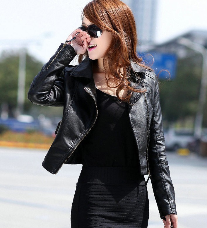 Women Fashion Black Motorcycle Coat Female PU Leather Jacket Short Faux Biker Soft