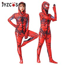 JYZCOS Venom Red Cape Spiderman Cosplay Clothing Anime Costume Suit Tights Spider-man Halloween Costumes for Adult Women Kids