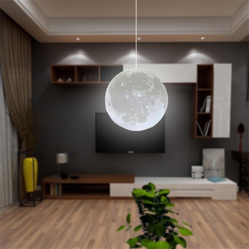 3D プリントシャンデリアムーンボール Led ランプスマートホーム装飾リビング寝室 Lamparas 北欧シャンデリア創造的な照明の装飾