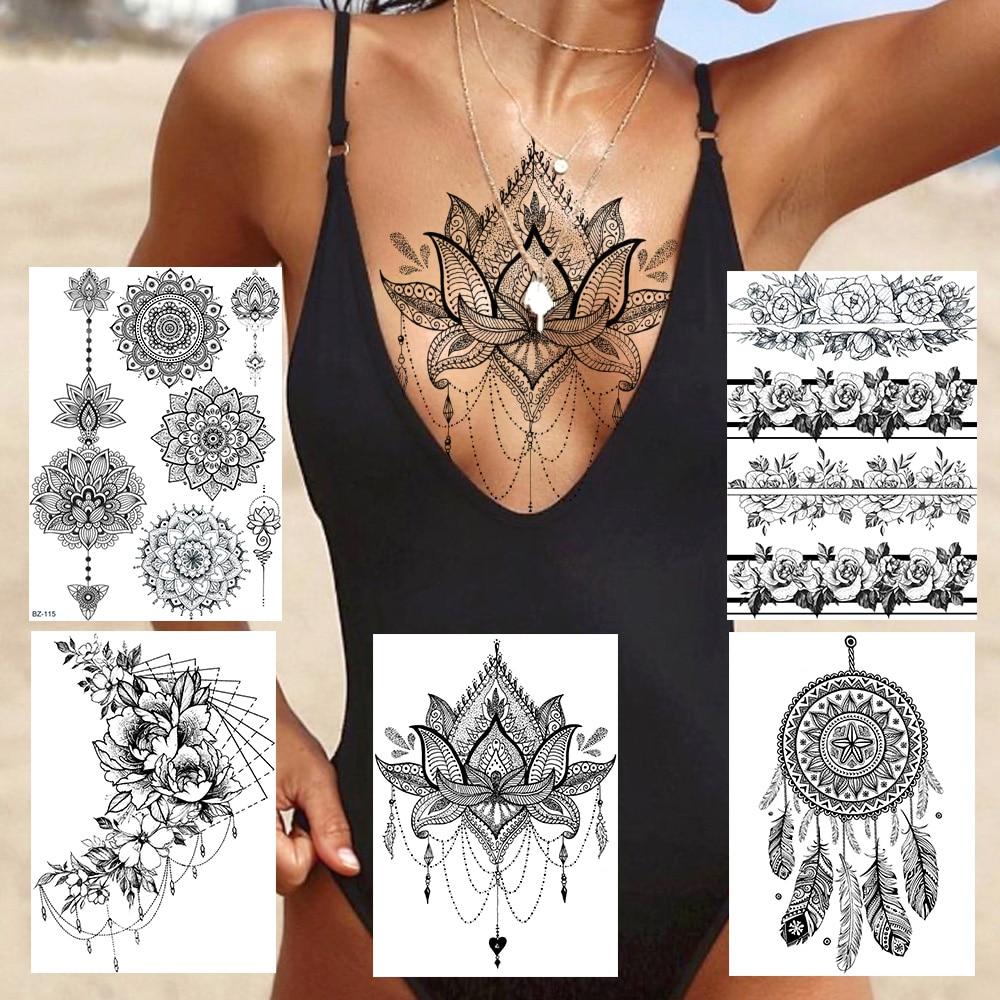 Sexy Lace Lotus Pendants Tattoos For Women Blach Henna Temporary Tattoo Sticker Water Transfer Fake Jewelry Bracelet Tatoo Paste(China)