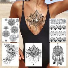 Sexy Lace Lotus wisiorki tatuaże dla kobiet Blach Henna tymczasowa naklejka tatuaż transferu wody fałszywe biżuteria bransoletka Tatoo wklej tanie tanio YURAN 21*15CM Tymczasowy tatuaż