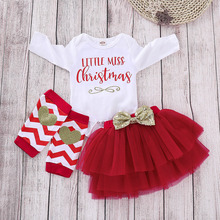 Hot Sale Baby Christmas Outfits My First Girl Clothes Set Cute Bodysuit+Layering Skirt+Knee Pads D40