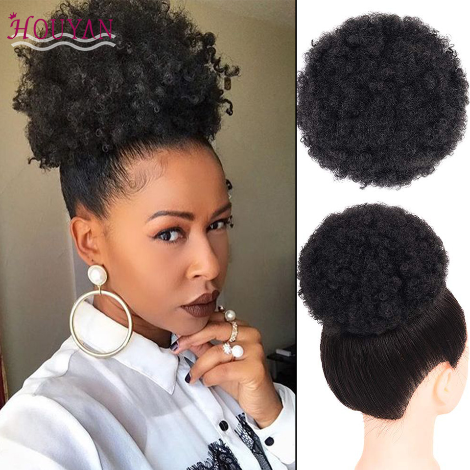 HOUYAN African Fluffy Artificial Afro Woman Drawstring Puff Bun Puffs Ponytails Bun Wrap Natural Hair Styling Accessory