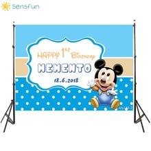 Buy Sensfun Blue Theme Mickey Birthday Party Backdrop Baby Shower White Wave Point Newborn Boys Background Custom For Photo Studio directly from merchant!