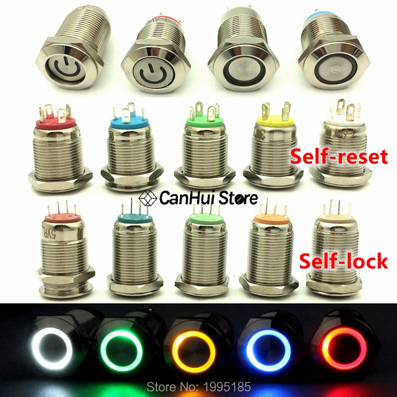 1pc 12mm Metal Push Button Switch Flat Head Ring/Power LOGO 3-6-12-110-220V Self-reset Momentary/locking Waterproof Car Auto Eng