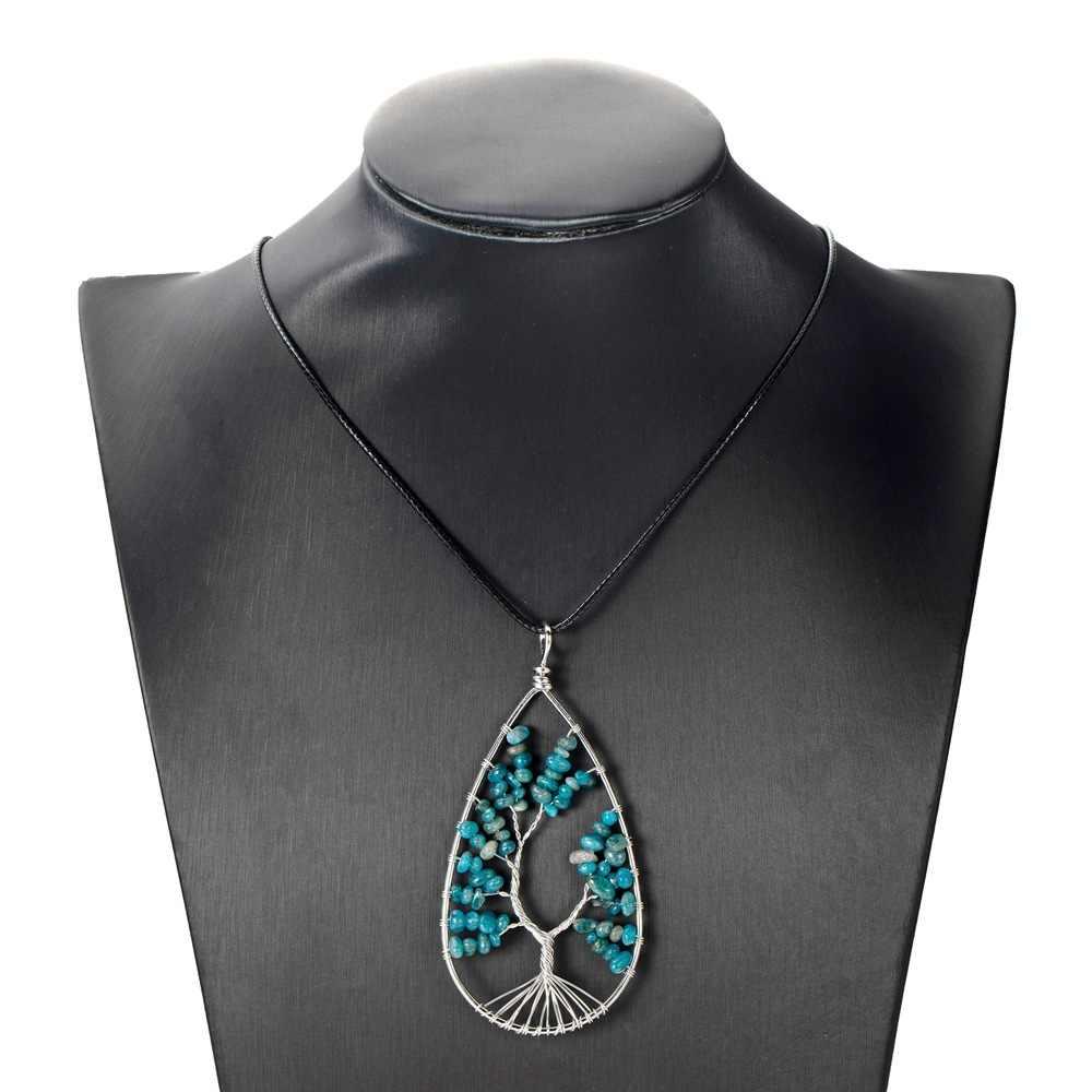 Collar Natural de 7 Cristales curativos de Chakra, alambre envuelto, cuarzo claro, colgante de árbol de la vida, curación, equilibrio de Energía Reiki puntiagudo