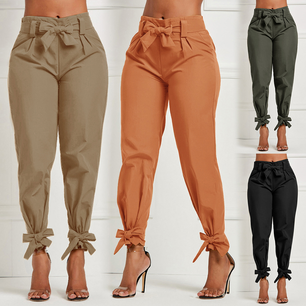Women's High Waist Long Pants Casual  With Sash Bow Pencil Pants For Female Ruffle Bow Tie Solid Work Tie Bottom Trousers