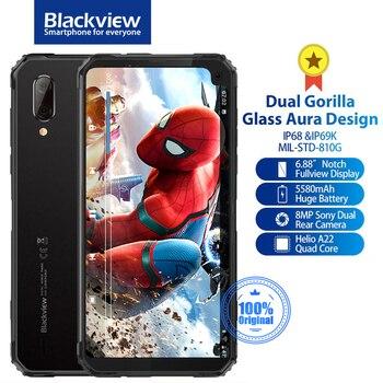 Перейти на Алиэкспресс и купить Смартфон Blackview BV6100, IP68 и IP69K, водонепроницаемый, прочный, двойная Горилла, Android 9,0, NFC, экран 6,88 дюйма, 5580 мАч, мобильный телефон