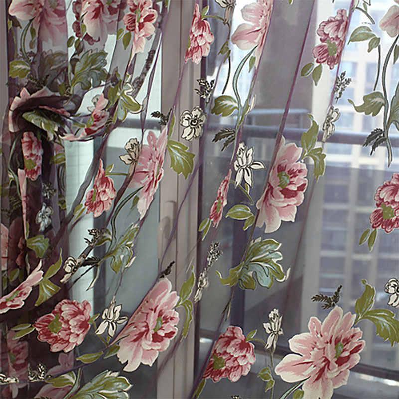Floral Lila Tüll Vorhänge Fenster für Wohnzimmer Das Schlafzimmer Fenster Behandlungen Voile Sheer Vorhänge für Küche Vorhänge Panel