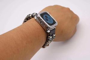 Image 4 - Mode rétro boîtier en métal Bracelet Bracelet pour Apple Bracelet de montre série 1 2 3 4 5 Bracelet en cuir 38 42 40 44mm lien ceinture