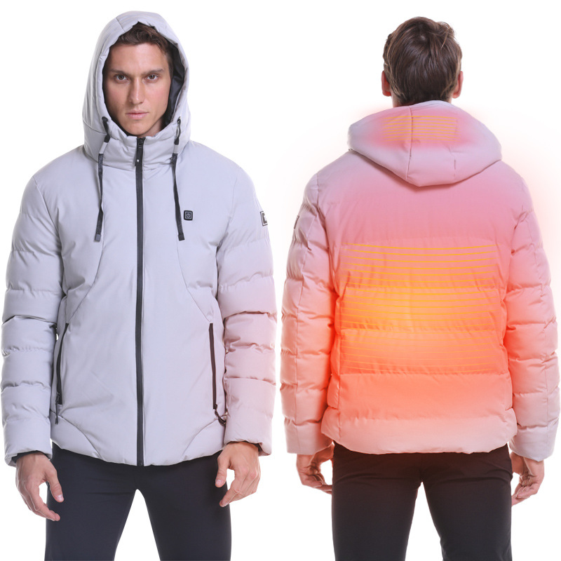 2019 Men Winter Thick USB Heating Cotton Jacket Waterproof Windbreaker Hooded Winter Coat Men Thick Warm Winter Jacket   Parka
