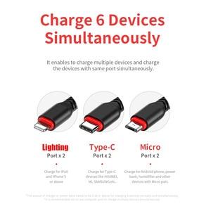 Image 2 - Kaya Hi Tensile Metal örgülü 6 in 1 şarj kablosu 2M aydınlatma C tipi mikro hızlı şarj kablosu iPhone için X 8 7 6 Xiaomi Samsung