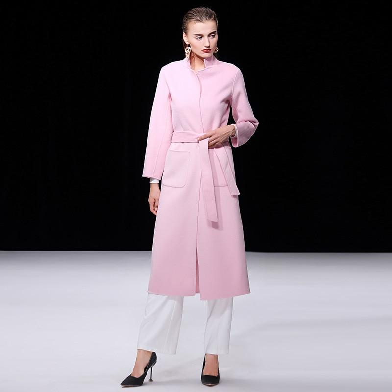 Vrouwen s winterjas roze dubbelzijdig wol kasjmier uitloper 2019 herfst plus size dames mode overjassen lange gratis schip - 2