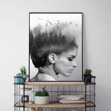 Abstract Figure Girl Painting Black And white Poster Forest Landscape Sky Birds Art Posters And Prints Wall Pictures Unframed