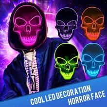 Dropship Halloween Mask Illuminated LED Light Up Masque mascara Maska The Purge EL-Wire Scary Glow In Dark Masker