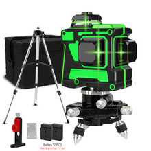 Laser Level 12 Lines Green 3D Horizontal and Vertical Cross Line 360 Auto Self-Leveling Green Laser with Bracket Lithium Battery стоимость