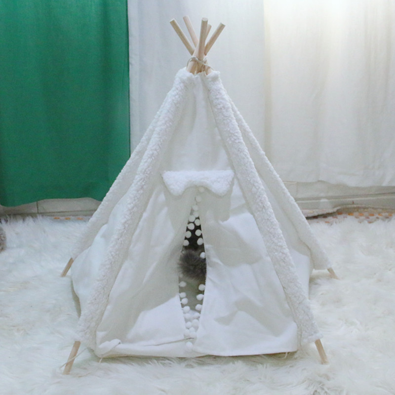 dog teepee tent white