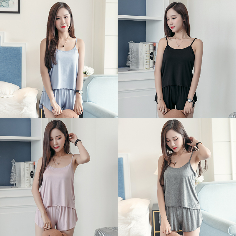 Summer Thin Section Hipster Shorts Camisole Two-Piece Casual Solid Color Sweet Base Spaghetti Strap Pajamas Tracksuit Women's