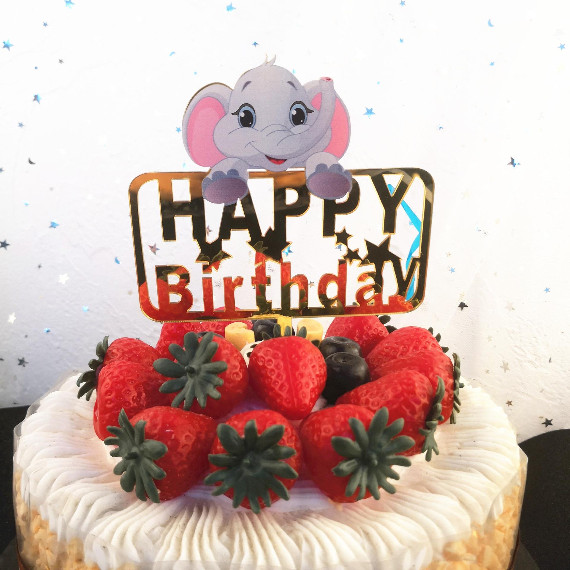 Super Zotoone Elephant Happy Birthday Cake Topper Summer Tropical Luau Personalised Birthday Cards Paralily Jamesorg