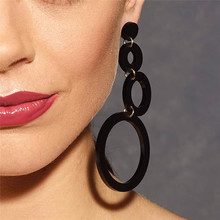 NJ Fashion Cool Black Round Design Hanging Earrings For Women Vintage Sexy Exaggerate Jewelry Gift Party