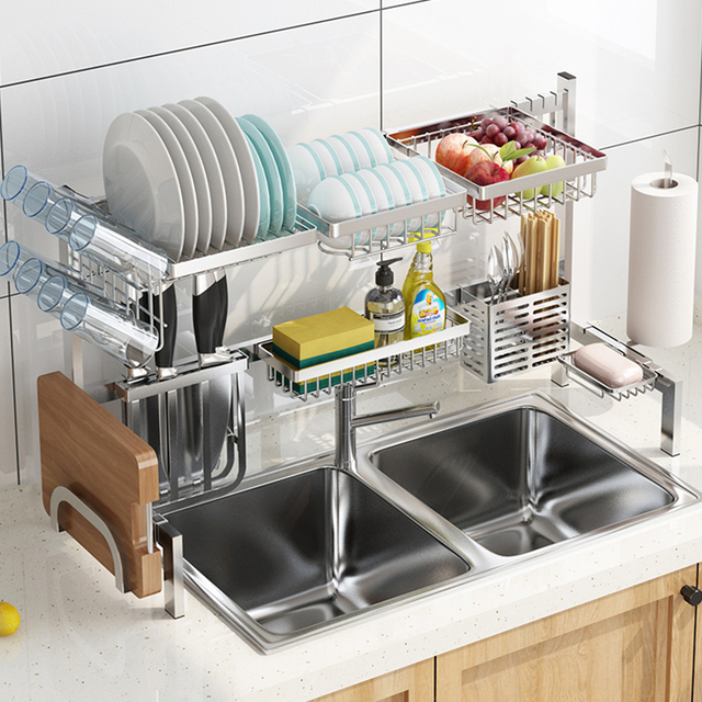 DIY Drain Dish Rack Stainless Steel Kitchen Shelf Fruit Baskets Room Organizer Multifunctional Storage Home Supplies
