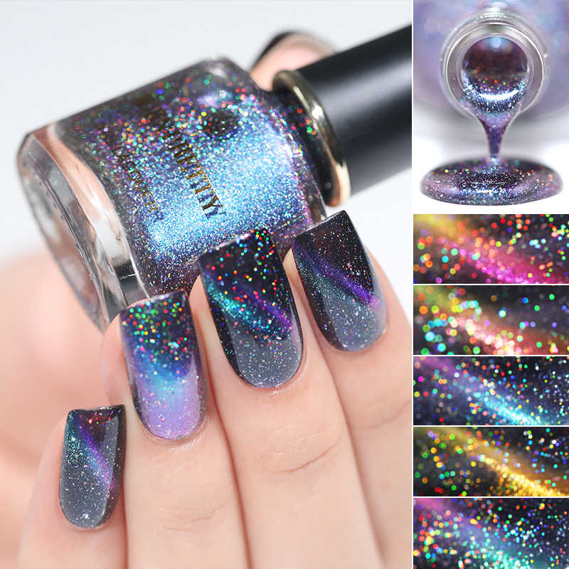 LAHIR CUKUP 3D Magnetic Glitter Cat Kuku 6ml Chameleon Cat Eye Nail Varnish Nail varnish Hitam Dasar Yang Diperlukan