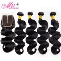 4 шт./партия бразильские волнистые волосы на шнурках с закрытием волос Mshere, не волосы remy для наращивания
