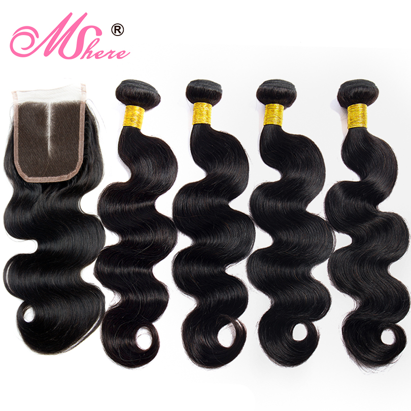 Lace Closure With Human Hair Bundles 4 Pcs/Lot Brazilian Body Wave Hair With Lace Closure Mshere Hair Non Remy Hair Extensions