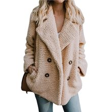 2019 Europe and the United States autumn and winter foreign trade new products hot pockets suit collar collar plush coat women стоимость