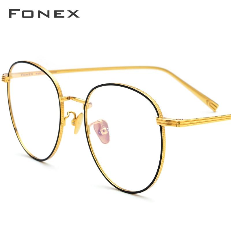 FONEX lunettes de Prescription en titane pur hommes ultralégers rondes myopie optique lunettes cadre femmes 2019 or Rose lunettes 886