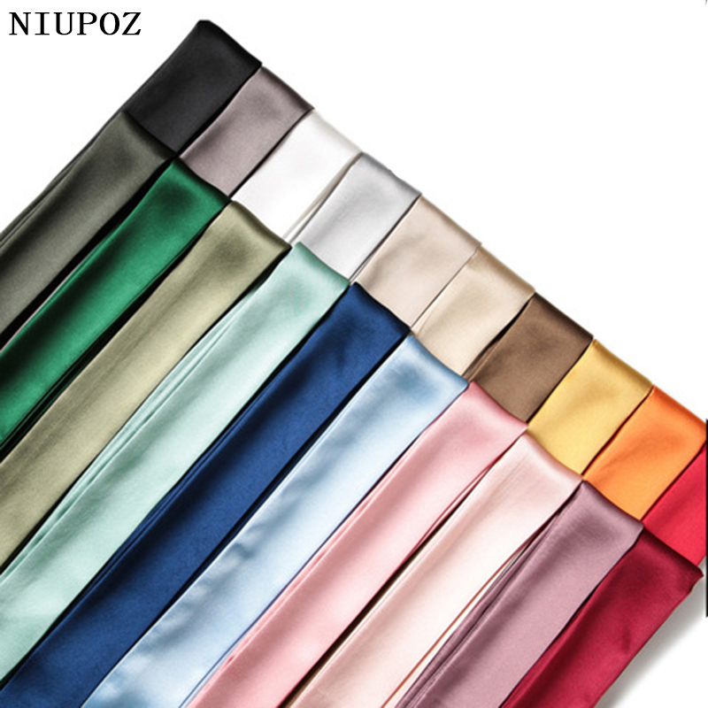 Hot Fashion New Twill Emulation Silk Solid Bag Scarf Women Small Scarf Ribbon Handbag Hair Long Shawl Bandana Luxury Head Scarf