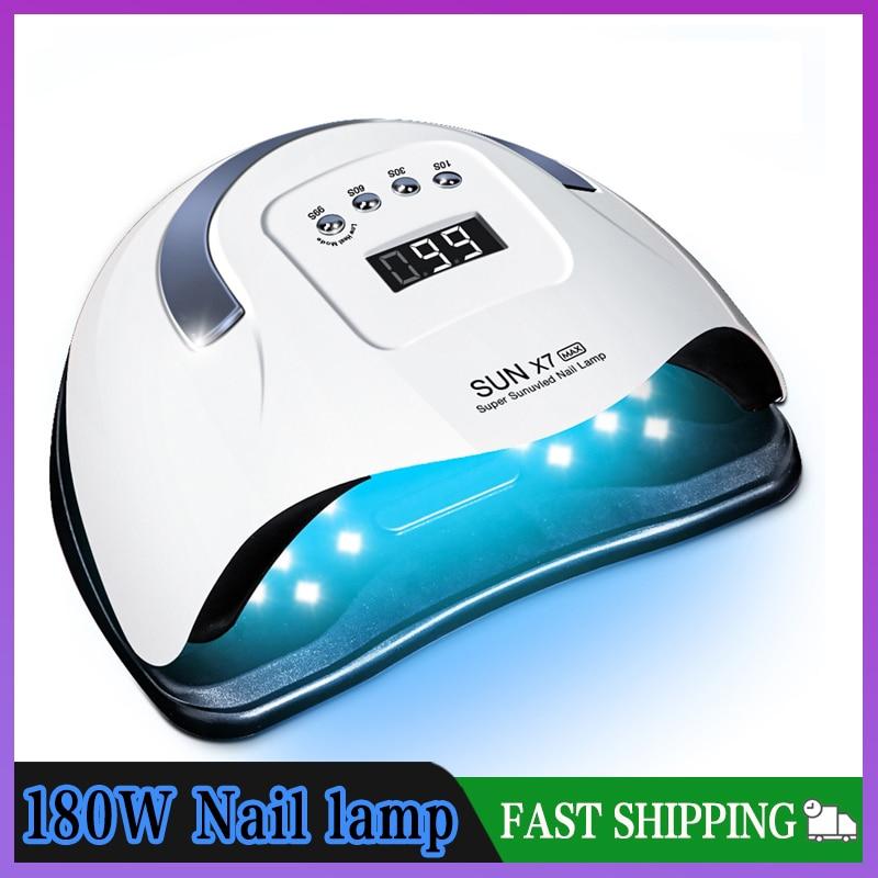 Лампа SUN X7 Max для ногтей, 180 Вт, автоматическая лампа с 57LED УФ-лампой, быстросохнущая лампа для сушки гель-лака для ногтей, профессиональная лам...