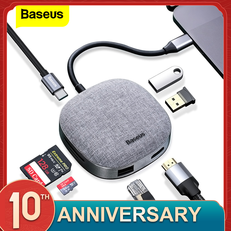 Baseus PD USB Type C HUB To HDMI RJ45 Multi USB 3.0 HUB For MacBook Pro USB C Adapater TF SD Card Reader Fabric USB3.0 HUB Dock