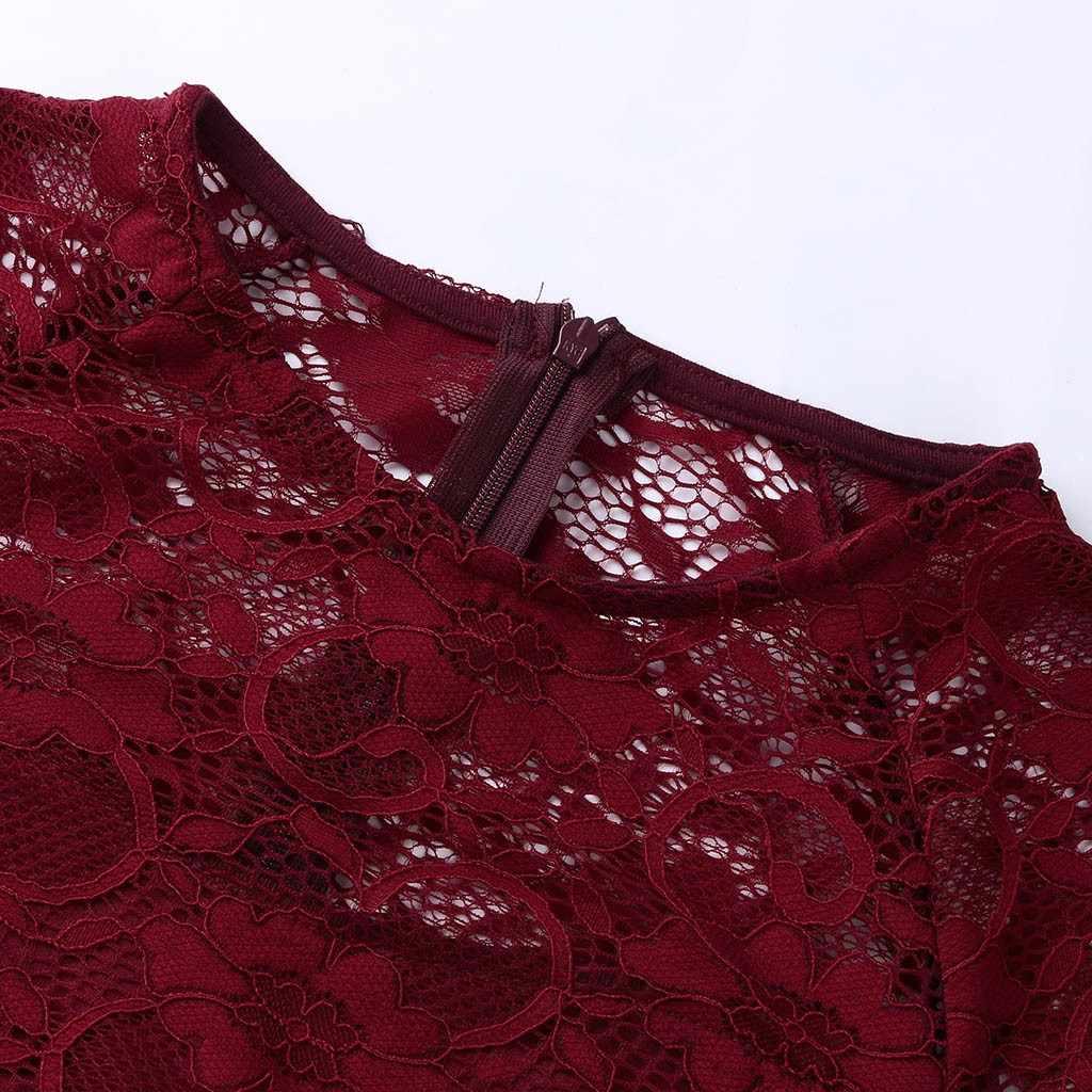 Ginocchio-Lunghezza Del Merletto Del Vestito Delle Donne di Estate Abiti a Manica Lunga Sexy Vino Rosso Elegante Del Partito O-Collo Del Vestito per Le Donne a Matita abiti # J30