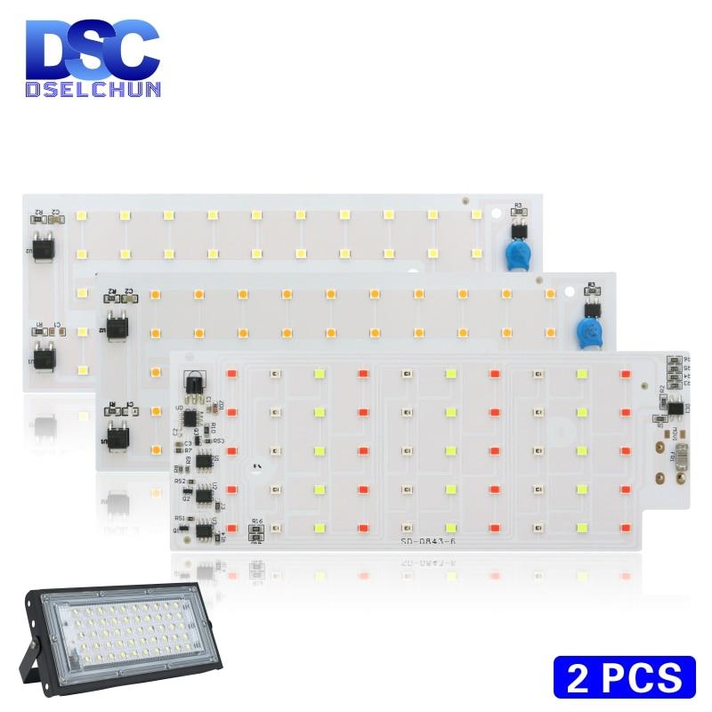 2pcs/lot 50W LED Flood Light Chip SMD 2835 Outdoor Floodlight Spotlight Beads AC 220V For LED Street Lamp Landscape Lighting