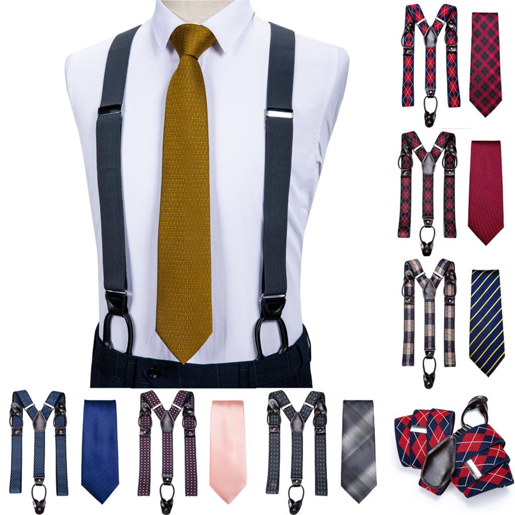 DiBanGu Mens Suspender Leather New Designer 6 Buttons Fashion Brace Strap Suspensorio Wedding Tie Set Adjustable Ligas Tirante